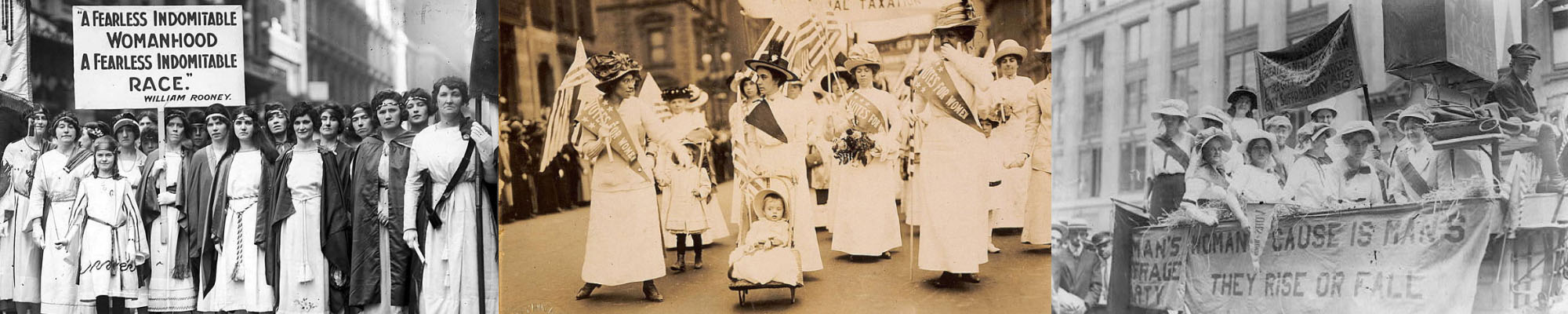 Suffragettes at marches from various time frames