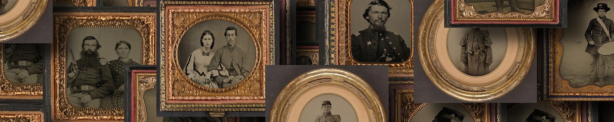 wall of civil war portraits